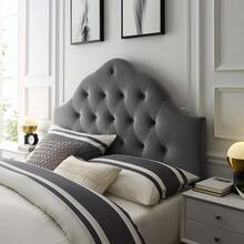 Sovereign King Diamond Tufted Performance Velvet Headboard in Gray