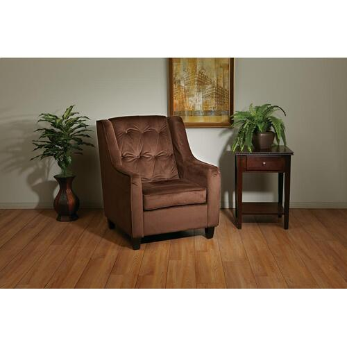 Curves Tufted Back Armchair With Cholocate Velvet Easy-care Fabric & Solid Wood Espresso Finish Legs
