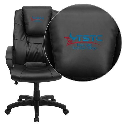 Texas State Technical College Embroidered Black Leather Executive Office Chair