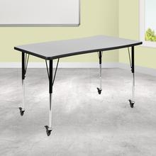 "Mobile 28""W x 47.5""L Rectangular Wave Collaborative Grey Thermal Laminate Activity Table-Standard Height Adjustable Legs"