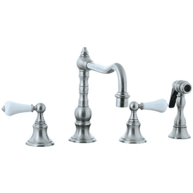Highlands - 4 Hole Widespread Pillar Kitchen Faucet with Side Spray - Aged Brass