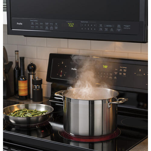 GE Profile 2.1 Cu. Ft. SpaceMaker Over the Range Microwave Oven Black Slate- PVM2188DSMC