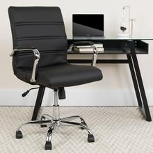View Product - Mid-Back Black LeatherSoft Executive Swivel Office Chair with Chrome Frame and Arms