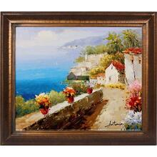 Mediterranean Walkway Framed Hand Painted Art, Oil on Canvas