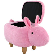 "Critter Sitters 15"" Seat Height Pink Easter Bunny Animal Shape Storage Ottoman Furniture for Nursery, Bedroom, Playroom & Living Room Decor, CSBUNSTOTT-PNK"