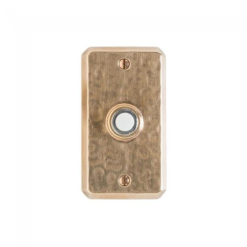 Hammered Doorbell Button White Bronze Brushed