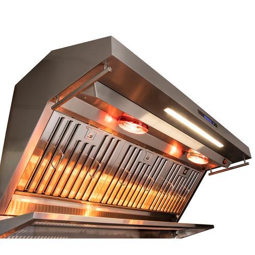 "Forno Alta Qualita FRHWM5029-48 48"" Range Hood 1200 CFM With Red Light Warmers / Shelf / Back Splash Baffle Filters, All Stainless Steel"