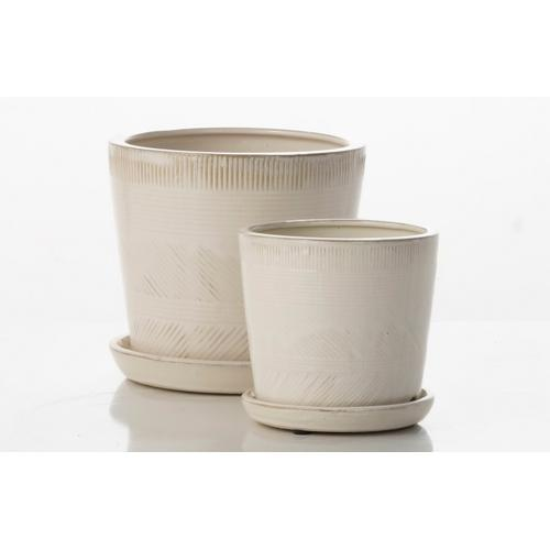 Alfresco Home - Mud Cloth Petits Pots w/ attached saucer - White (Set of 2)