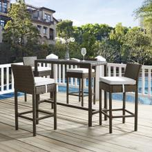Conduit Bar Stool Outdoor Patio Wicker Rattan Set of 4 in Brown White