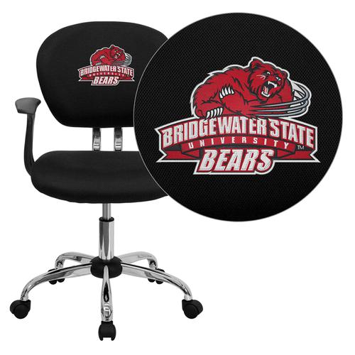 Bridgewater State University Bears Embroidered Black Mesh Task Chair with Arms and Chrome Base