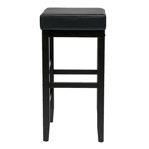 """30"""" Square Black Faux Leather Barstool With Espresso Legs"""