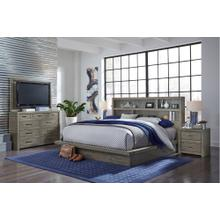 Queen Platform Bed Bedroom Set - Headboard, Footboard, Rails, Dresser, Mirror