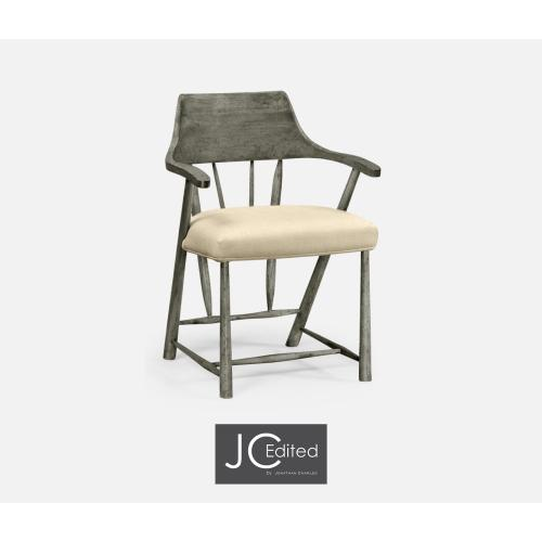 Dining Chair in Antique Dark Grey, Upholstered in MAZO