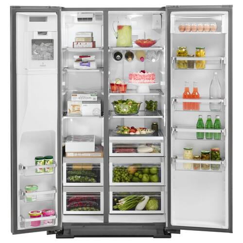 22.7 Cu. Ft. Counter Depth Side-by-Side Refrigerator with Exterior Ice and Water - Stainless Steel
