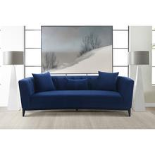 See Details - Melange Blue Velvet Upholstered Sofa with Black Wood Base