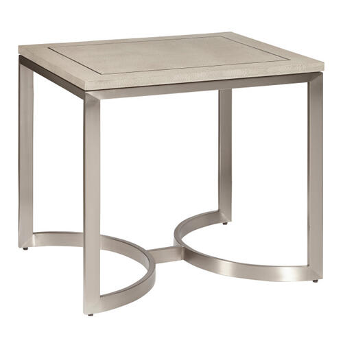 Modern Light Gray Shagreen and Metal End Table