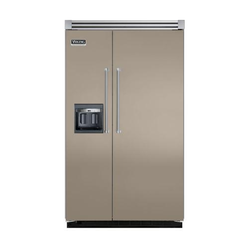 """Viking - Taupe 48"""" Side-by-Side Refrigerator/Freezer with Dispenser - VISB (Integrated Installation)"""