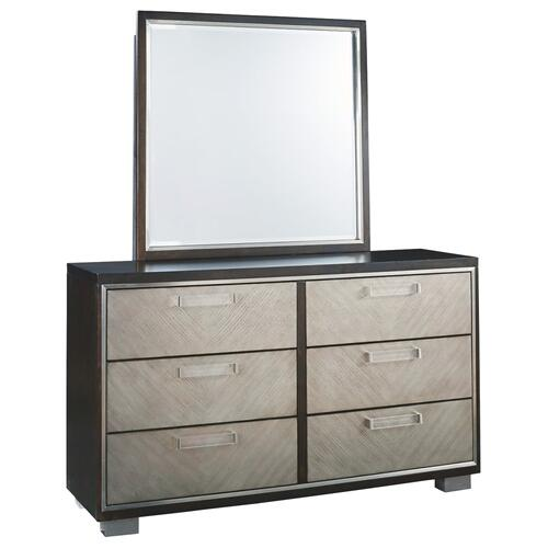 California King Upholstered Panel Bed With Mirrored Dresser and 2 Nightstands