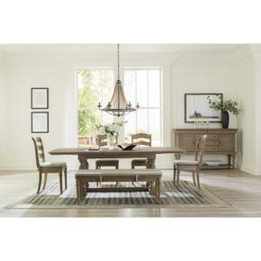 Louis Farmhouse - Upholstered Dining Bench - Antique Oak Finish
