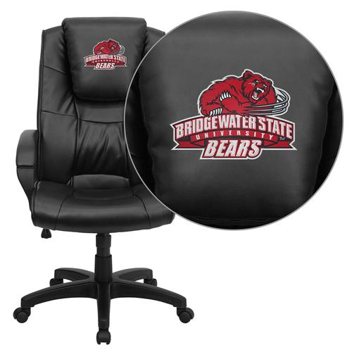Bridgewater State University Bears Embroidered Black Leather Executive Office Chair