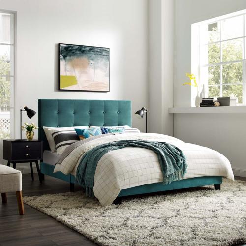 Melanie Twin Tufted Button Upholstered Performance Velvet Platform Bed in Sea Blue