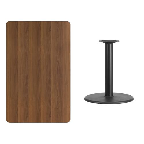 30'' x 48'' Rectangular Walnut Laminate Table Top with 24'' Round Table Height Base