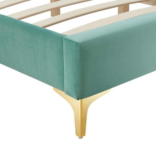 Sutton Queen Performance Velvet Bed Frame in Mint