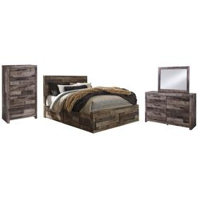 Queen Panel Bed With 6 Storage Drawers With Mirrored Dresser and Chest