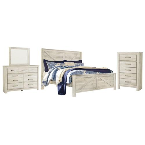 Product Image - King Crossbuck Panel Bed With Mirrored Dresser and Chest