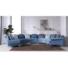 Divani Casa Darla Modern Blue Velvet Circular Sectional Sofa