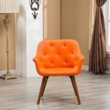Vauclucy Contemporary Faux Leather Diamond Tufted Bucket Style Dining Chair, Orange