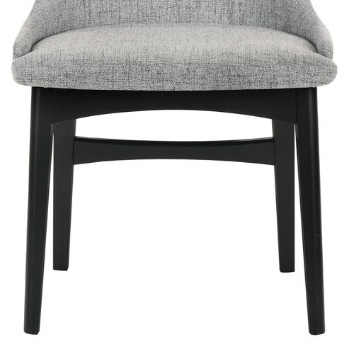 Azalea Gray Fabric and Black Wood Dining Side Chairs - Set of 2