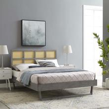 Sidney Cane and Wood King Platform Bed With Angular Legs in Gray