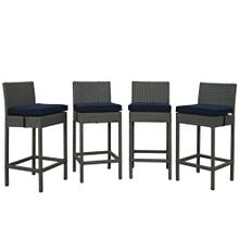 Sojourn 4 Piece Outdoor Patio Sunbrella® Pub Set in Canvas Navy