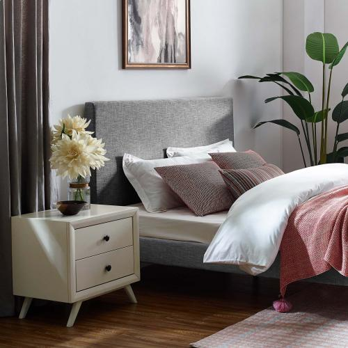 Taylor Twin Upholstered Linen Fabric Headboard in Light Gray