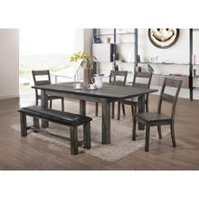 See Details - Hanover Bramble Hill 6-Piece Dining Set w/ Expandable Table, 4 Wood-Seat Side Chairs and Faux-Leather Bench in Weathered Gray Finish, HDR006-6WD-WG