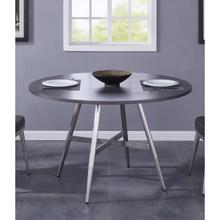 Armen Living Soleil Contemporary Dining Table in Brushed Stainless Steel and Gray Walnut Top