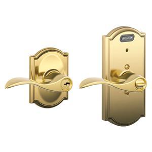 Schlage - Bright Brass Keyed Entry w/Built-In Alarm