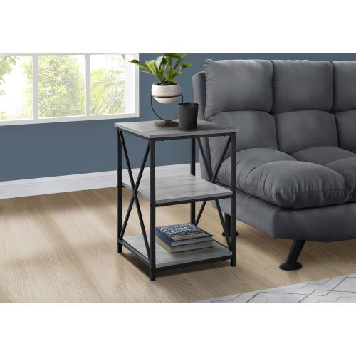 """Gallery - ACCENT TABLE - 26""""H / GREY / BLACK METAL"""