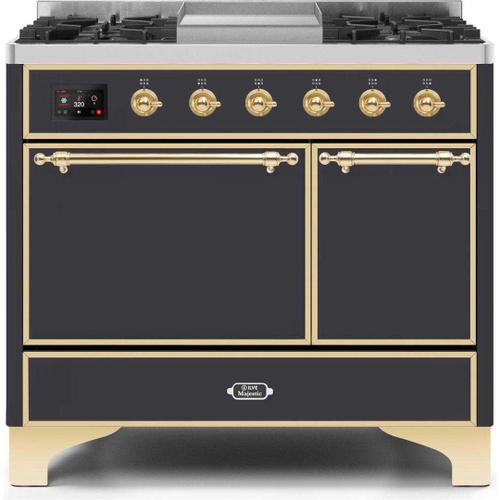 Product Image - Majestic II 40 Inch Dual Fuel Natural Gas Freestanding Range in Matte Graphite with Brass Trim