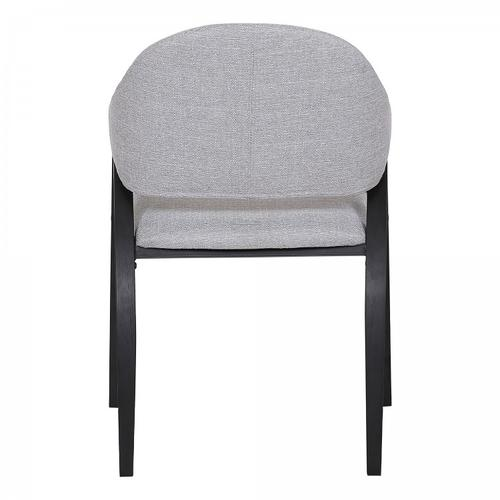 Meadow Contemporary Dining Chair in Black Brush Wood Finish and Grey Fabric - Set of 2