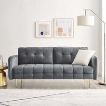 Cameron Tufted Performance Velvet Sofa in Gray