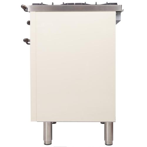 Product Image - Nostalgie 24 Inch Dual Fuel Natural Gas Freestanding Range in Antique White with Bronze Trim