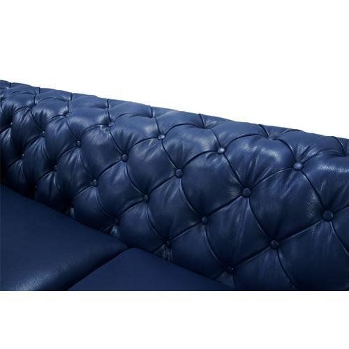 Divani Casa Soma Modern Blue Tufted Leather Sofa Set