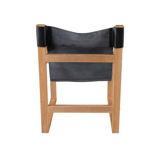Gallery - Lima Sling Chair, Black Leather with Natural Frame