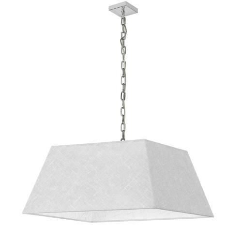 Dainolite - 1lt Milano Large Pendant, Wht/clr Shade, PC