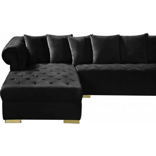 "Presley 3pc. Velvet Sectional - 134"" W x 70"" D x 31.5"" H"