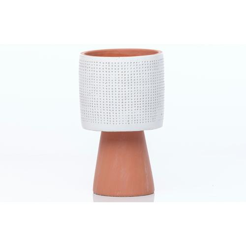 Footed Drum Dimple Planter MIN 4 PCS white on Terra Cotta