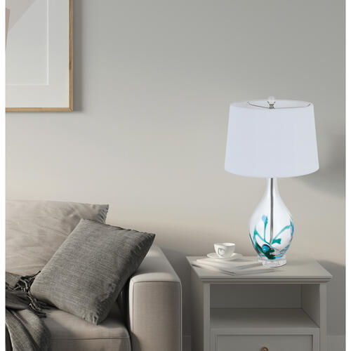 150W 3 way Harlan glass table lamp with hardback taper drum fabric shade