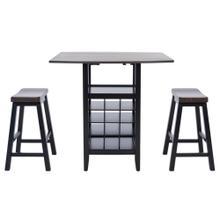 Emeric 3 PC Set Drop Leaf Pub Table - Dark Espresso / Black